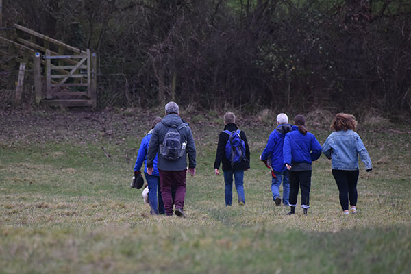 group walking downhill